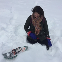 Me standing in the snow after fishing out my snow shoe...
